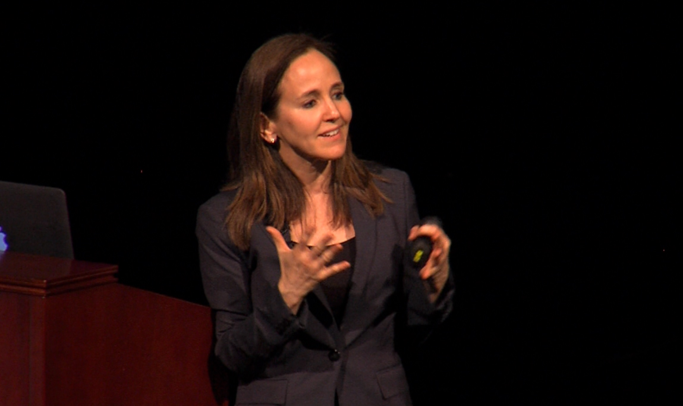 Dr. Dana Suskind on stage at University of Chicago